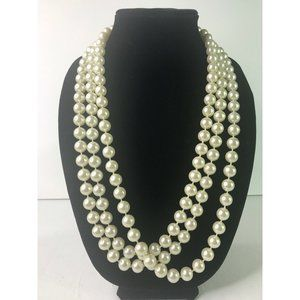 "Super Long Faux White Pearl Bead Necklace – 86"" in"